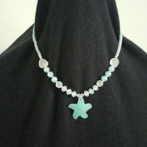 Aquamarine glass bead necklace